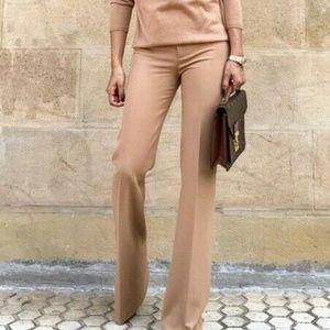 Zara Flared Camel Trousers Sz XS